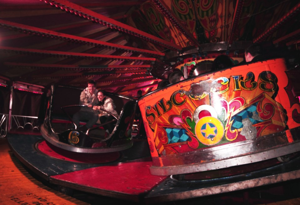 Small funfairs and portable rides at Salford near Manchester on Mallory on Travel, adventure, photography