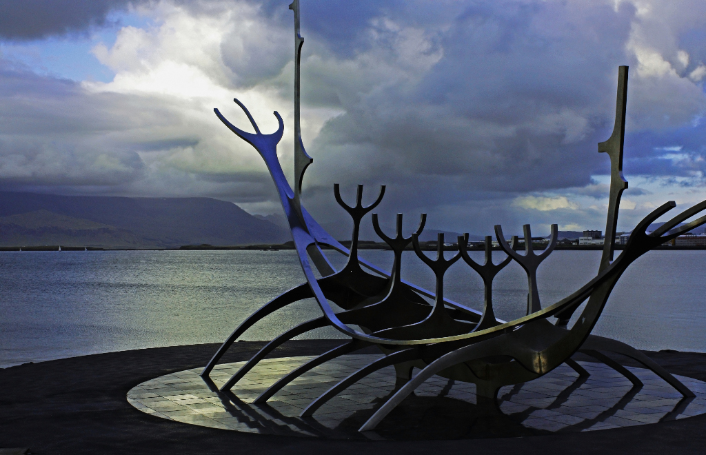 The Icelandic city of Reykjavik and the harbour Viking ship on Mallory On Travel adventure, photography