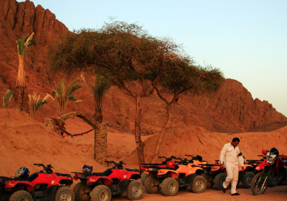 Journeying; Quad bikes and ATVs in a Berber Camp in the Egyptian desert near Sharm el Sheik on Mallory on Travel, adventure, photography