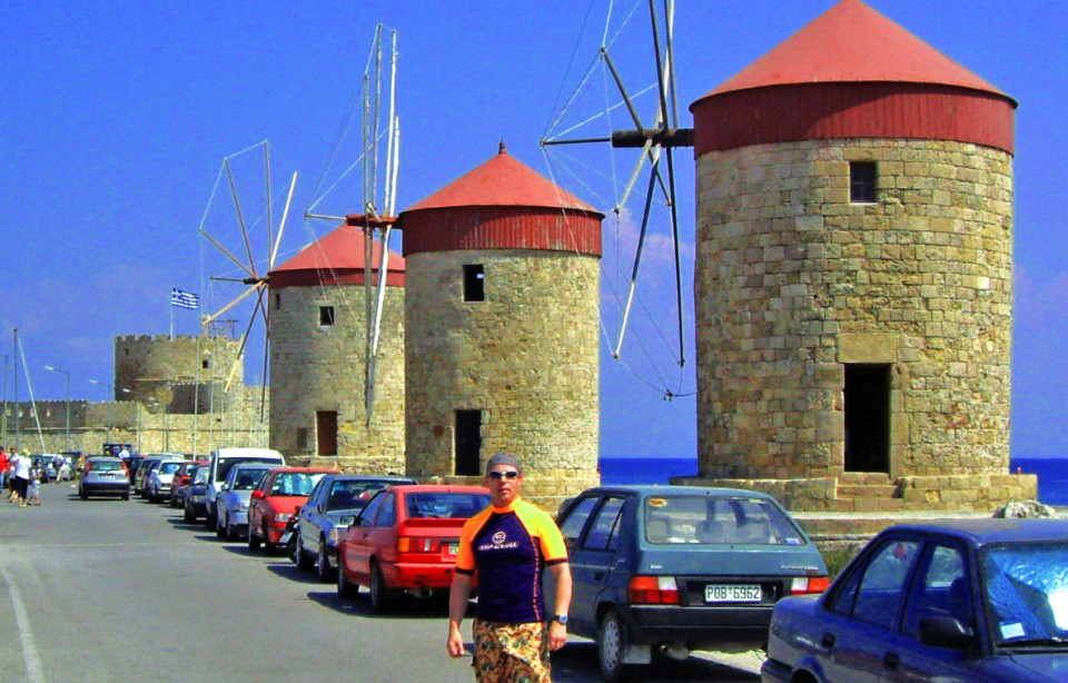 Windmills on the promenade at Rhodes city in the Greek Islands on Mallory on Travel, adventure, photography