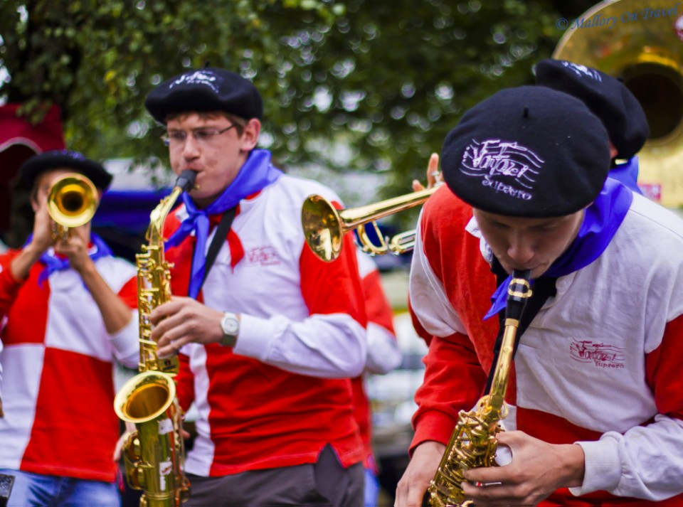 Youth brass band at the Foire aux Côtelettes Festival in the village of Arrens-Marsous in the Val d'Azun in the French Haute- Pyrénées on Mallory on Travel, adventure, adventure travel, photography