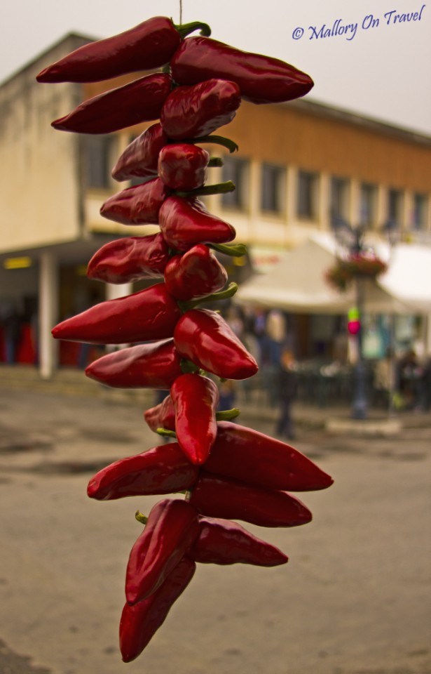 Chill peppers at the Foire aux Côtelettes Festival in the village of Arrens-Marsous in the Val d'Azun in the French Haute- Pyrénées on Mallory on Travel, adventure, adventure travel, photography