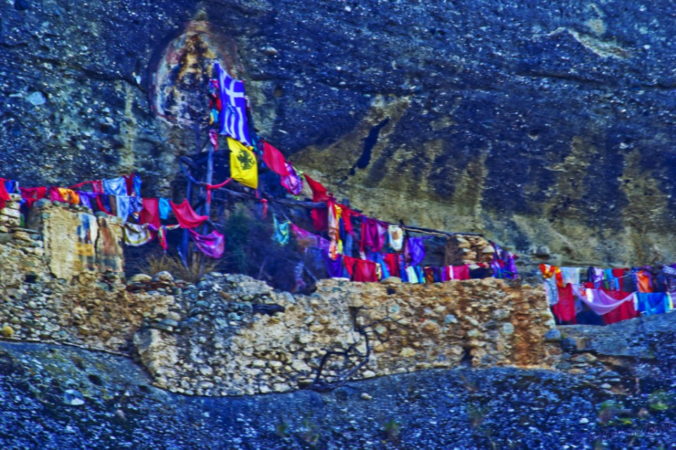 Meteora banners in the cliffs of the Thessalonian Plain on Mallory on Travel, adventure, adventure travel, photography