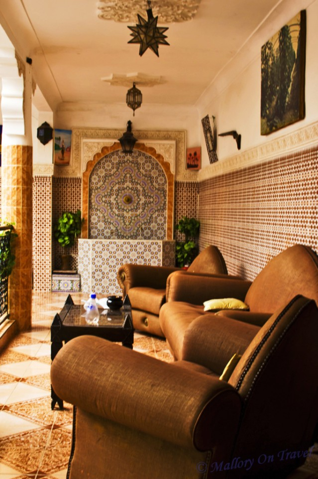 Communal area in a Marrakech Riad in a Moroccan medina on Mallory on Travel, adventure, adventure travel, photography