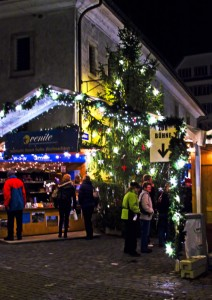 Food stalls at the Christmas market in Lucerne, Switzerland  on Mallory on Travel, adventure, adventure travel, photography