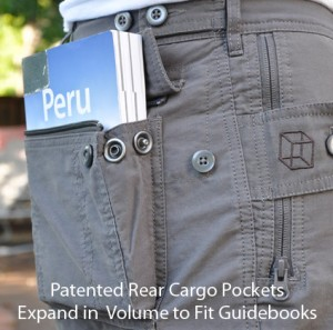 Expandable guidebook pocket in the P^cubed Adventure Traveler Pants on Mallory on Travel, adventure, adventure travel, photography