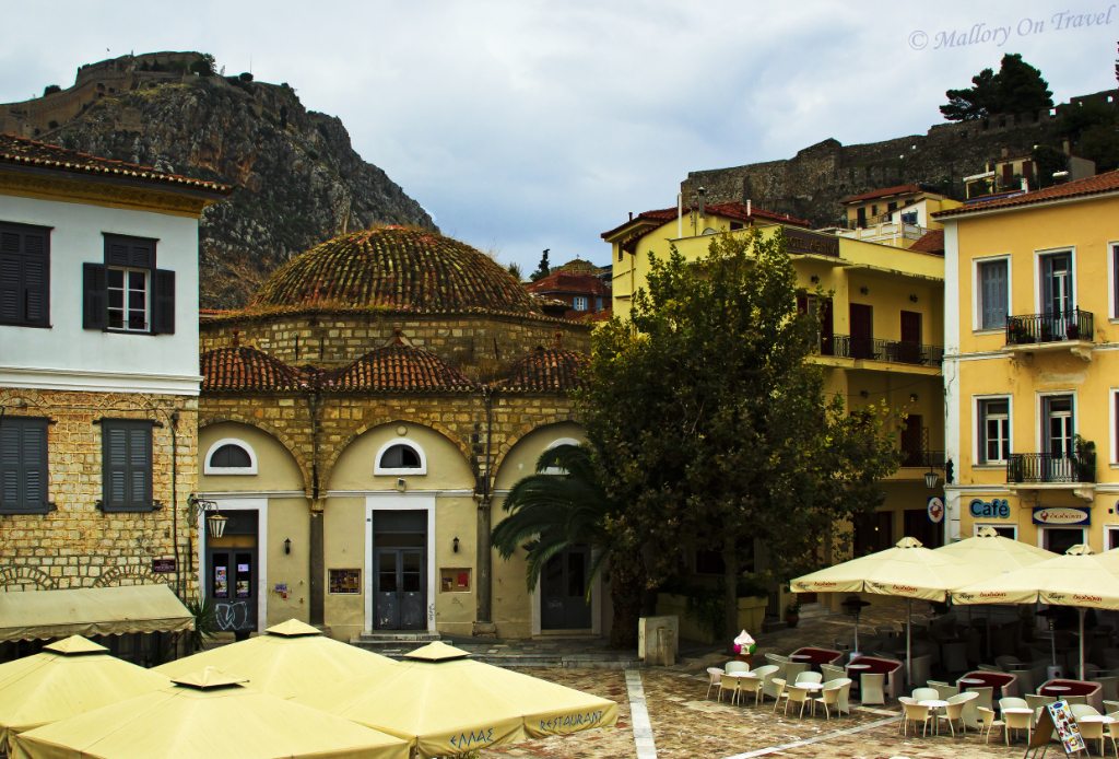 The main square in the Old Harbour in the Peloponnese city of Nafplio in Greece on Mallory on Travel, adventure, adventure travel, photography