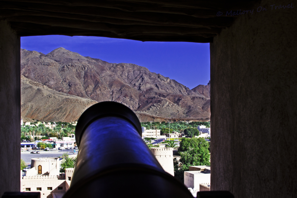 Cannons in Nizwa fort on Mallory On Travel adventure, photography