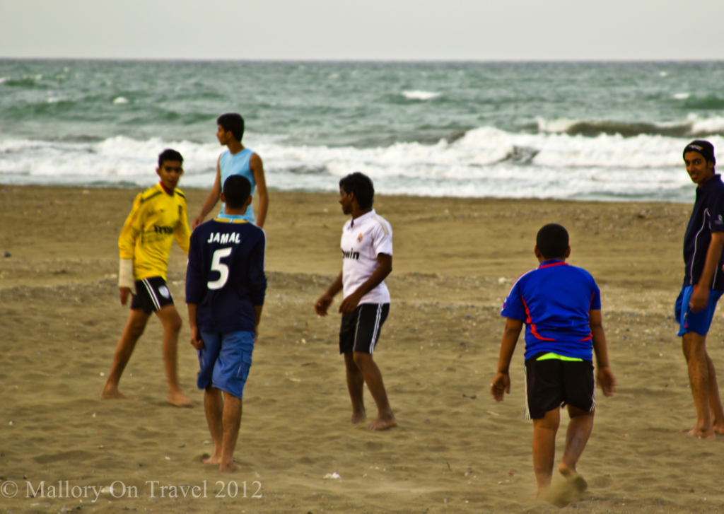 Seeb beach football ground, near Muscat, in the Sultanate of Oman  on Mallory on Travel, adventure, adventure travel, photography