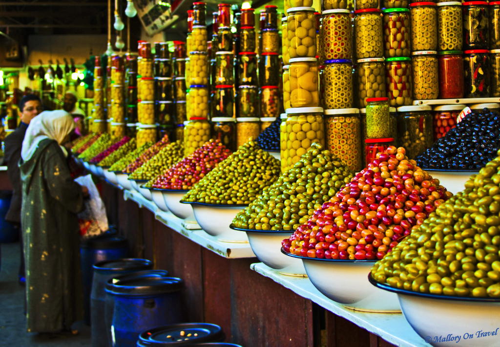 Olive stall in the Souks of Marrakech, Morocco on Mallory on Travel, adventure, adventure travel, photography