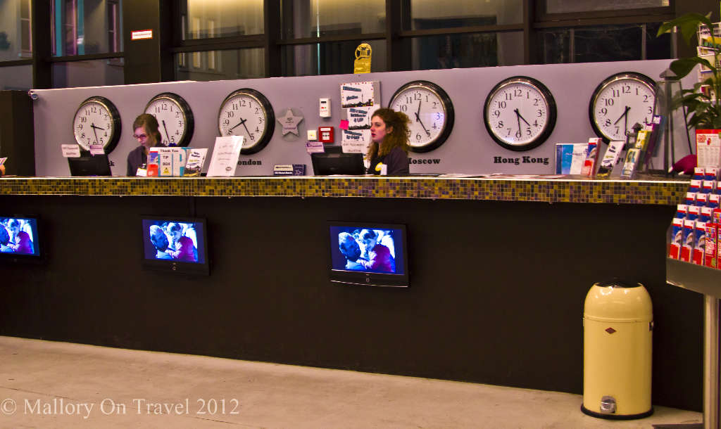 Reception desk at the Plus Hostel in Berlin on Mallory on Travel adventure, photography