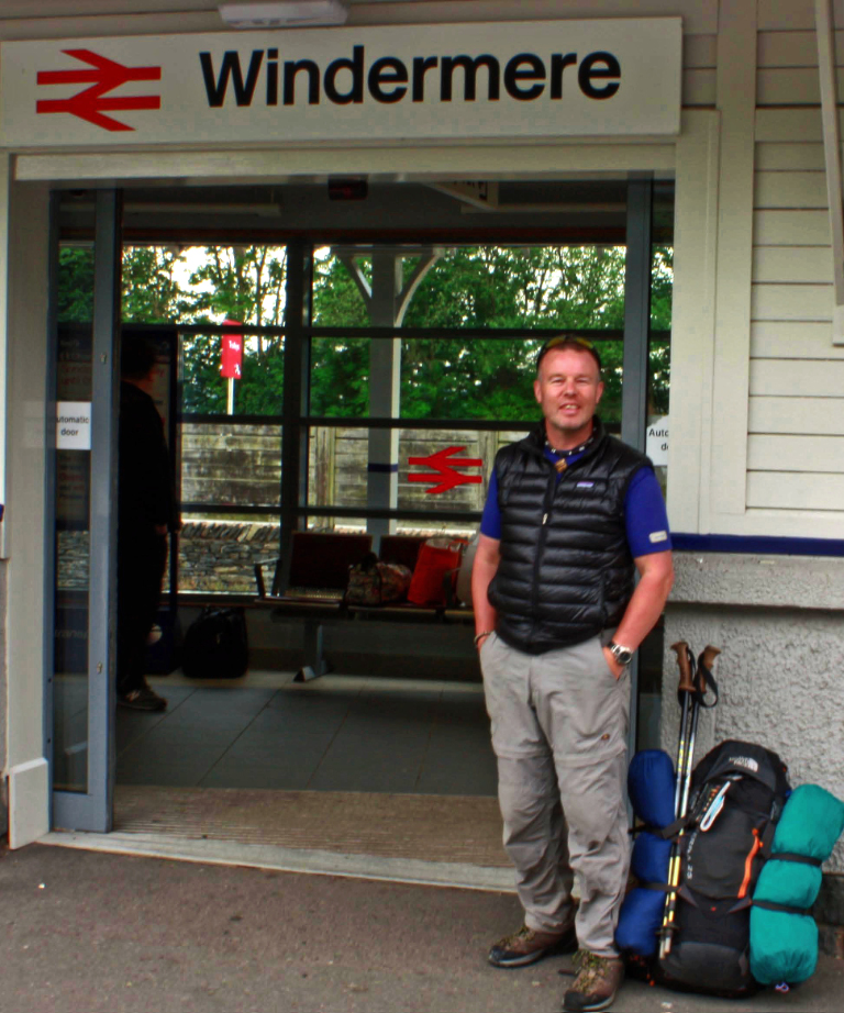 Iain Mallory at Windermere railway station in the Lake District on Mallory on Travel adventure, photography