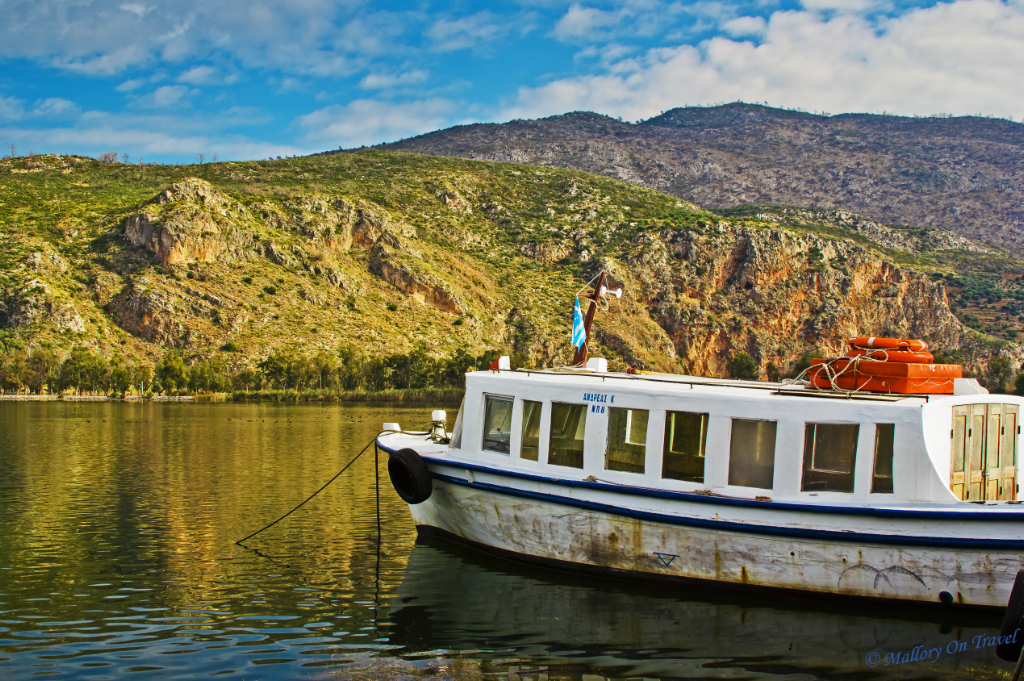 A cruise boat on Kaiafas Lake, Ilia near Olympia, Greece on Mallory on Travel adventure, photography