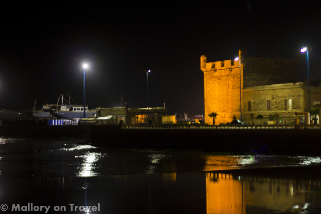 Night time Essaouira port and ramparts in Morocco on Mallory on Travel adventure photography