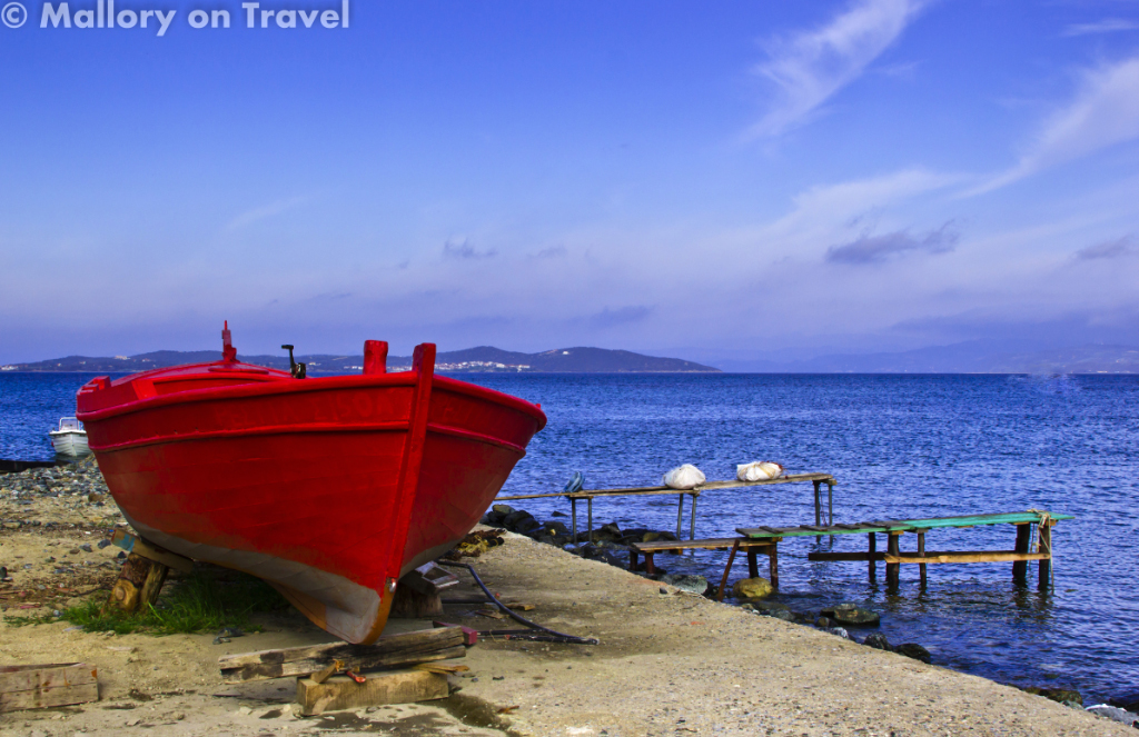 Fishing village of Ouranoupolis, Halkidiki, gateway to Greece's Mount Athos on Mallory on Travel adventure, photography