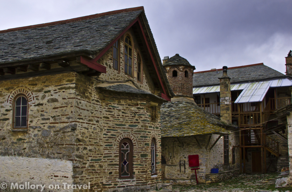 Out buildings from one of the main monasteries on Mount Athos on Mallory on Travel adventure photography