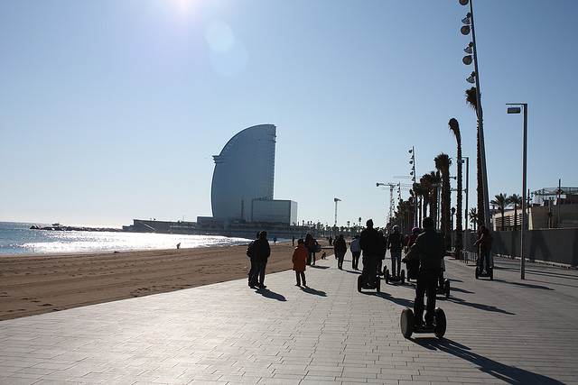 Segway tour of Barcelona in Spanish Catalonia on Mallory on Travel adventure photography