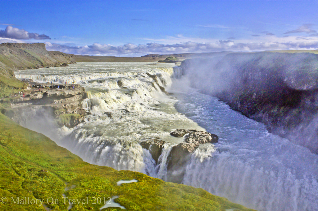 Gullfoss where the River Hvita cascades, Icelandic waterfall on the Golden Circle tour on Mallory on Travel adventure photography