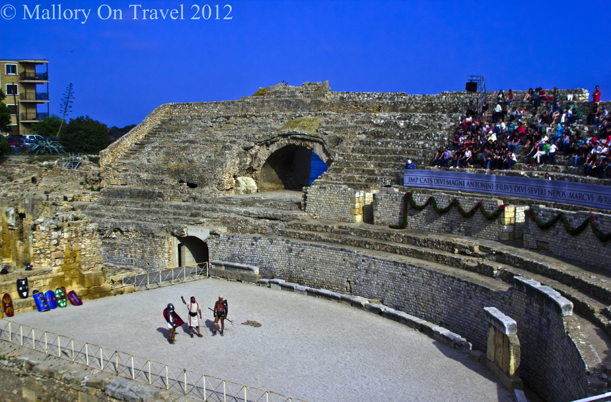 Roman gladiator revivals in the amphitheatre in Tarragona, Catalonia on Mallory on Travel adventure photography