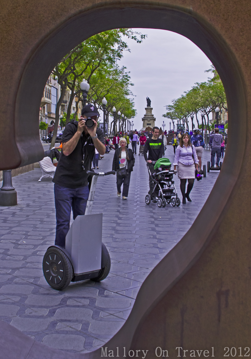 Taking photographs on the Tarragona city segway tour in Catalan Spain on Mallory on Travel adventure photography