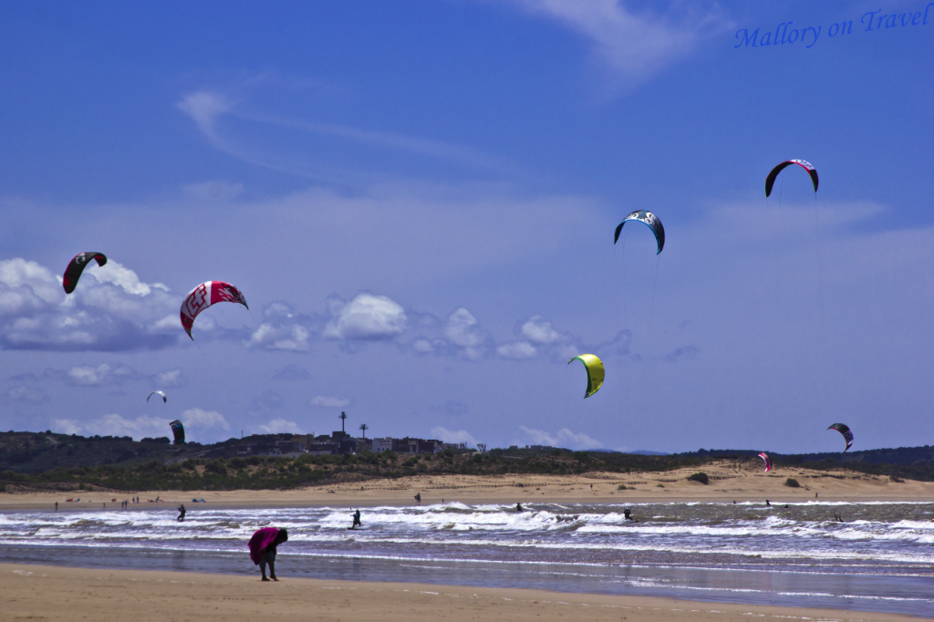 Kitesurfing in Essaouira, Morocco in the North African Atlantic on Mallory on Travel adventure photography