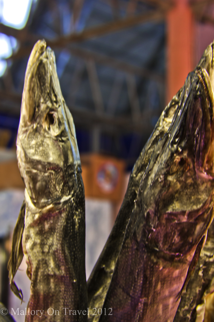 Latvian dried pike on sale in the Central Market of Riga in the Baltic states on Mallory on Travel adventure photography