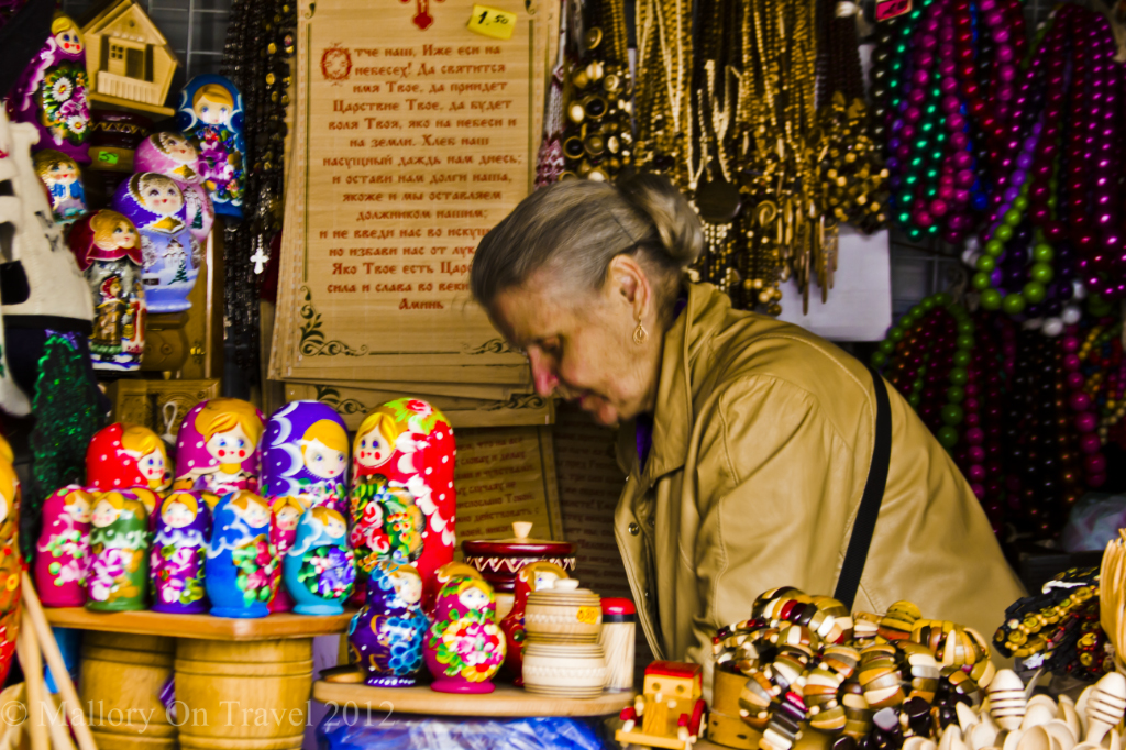 Selling Russian dolls at the outdoor Central Market in Riga, the Baltic capital of Latvia on Mallory on Travel adventure photography