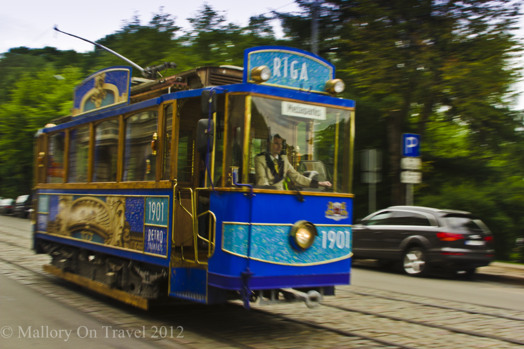 An old style tram in the old town of Riga in Baltic, Latvia on Mallory on Travel adventure photography