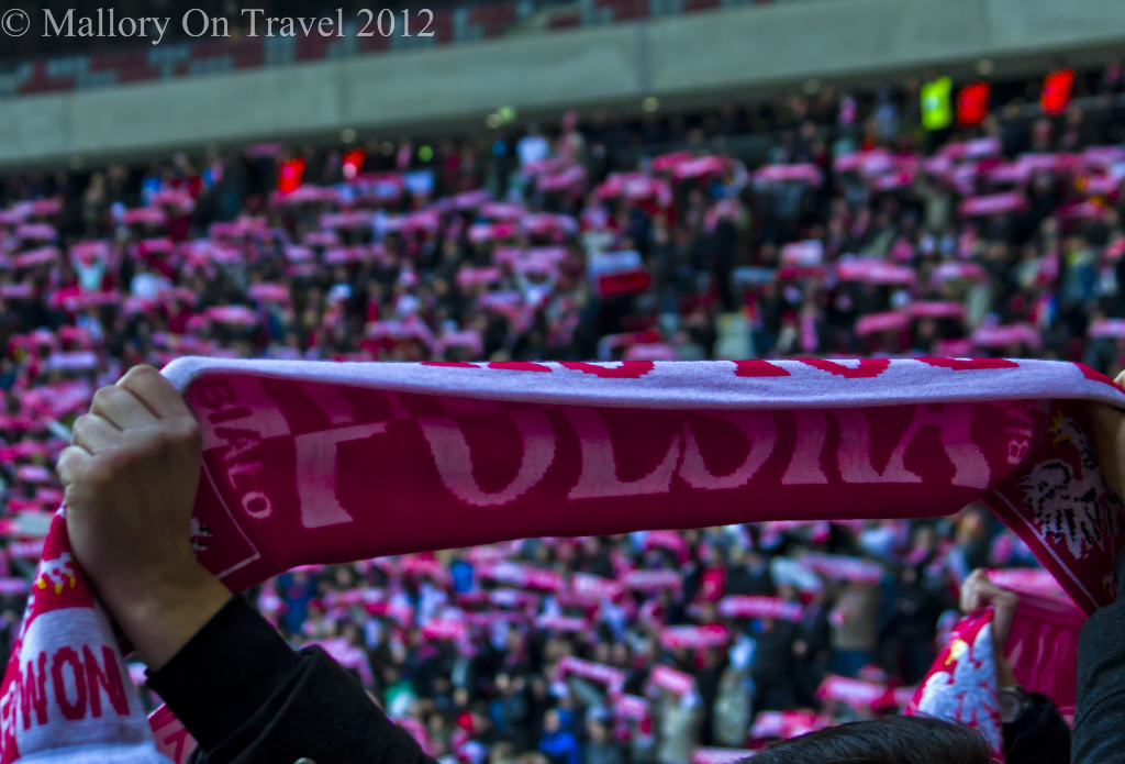 Supporting the National team in the National Football Stadium, Warsaw, Poland on Mallory on Travel adventure photography
