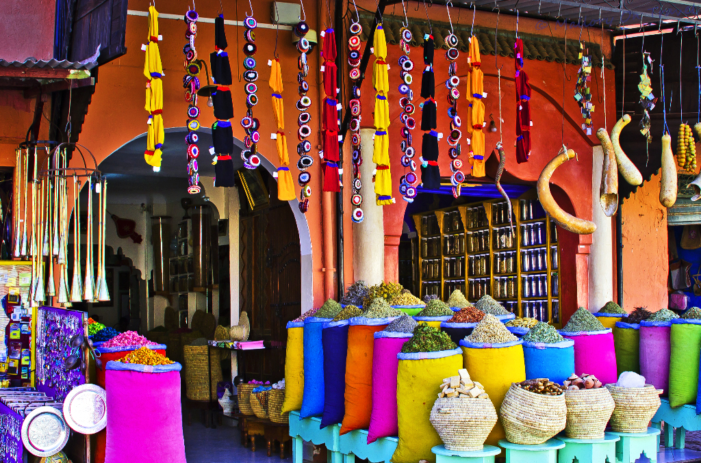A spice stall in the souks of Marrakech, Morocco on Mallory on Travel adventure photography