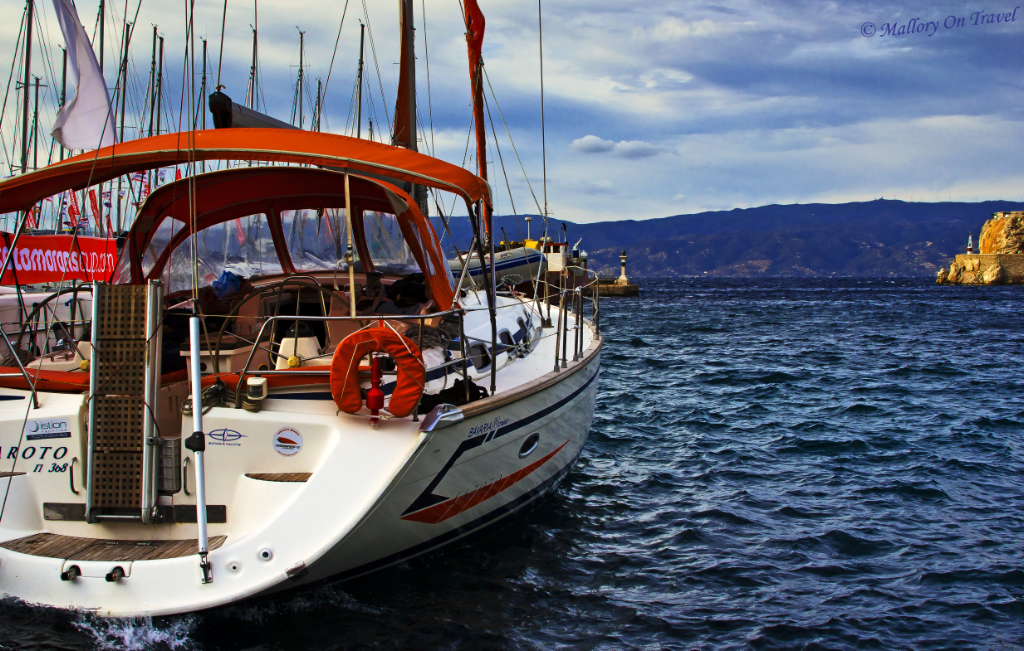 A sailing vessel on Spetses a Greek island in the Saronic Gulf in the Aegean Sea off the coast of Athens on Mallory on Travel adventure photography