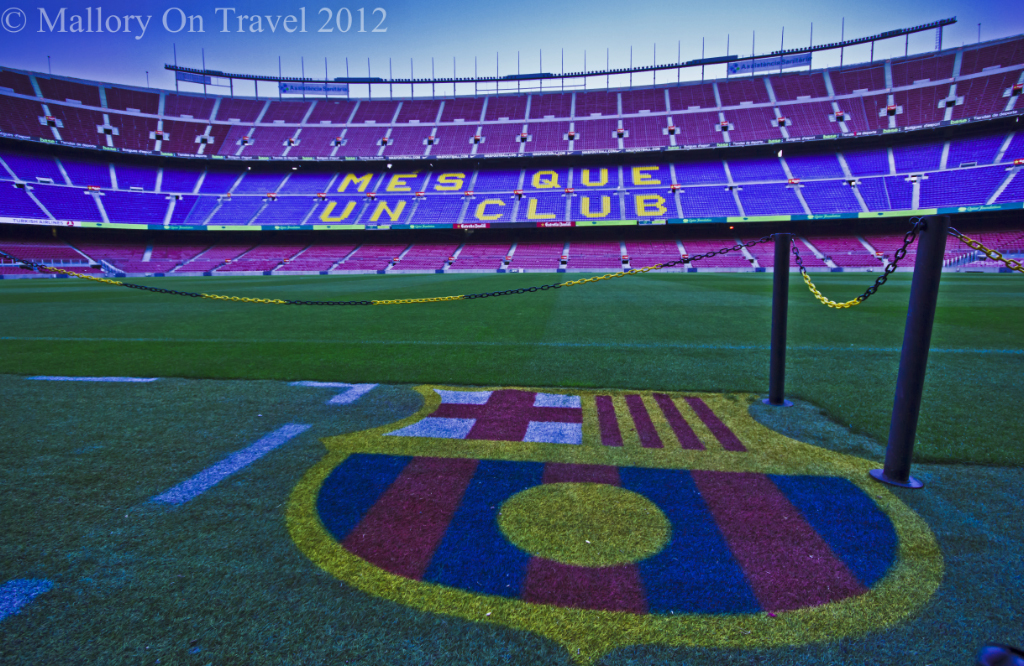 Famous turf of the Camp Nou, home of FC Barcelona on Mallory on Travel adventure photography
