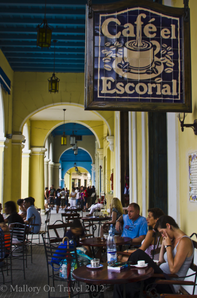 Cafe El Escorial in Old Havana, Cuba, maybe Hemmingway sipped coffee here on Mallory on Travel adventure photography