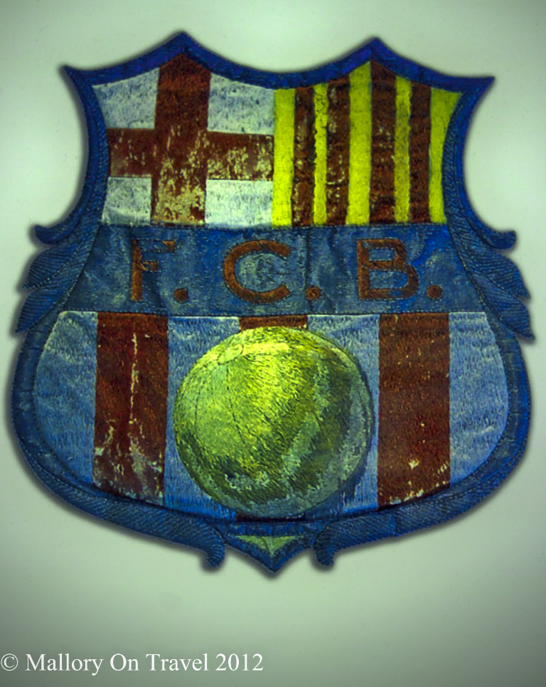 The emblem of FC Barcelona at the Camp Nou on Mallory on Travel adventure photography