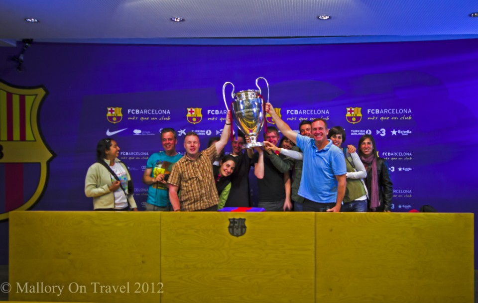 The Nou Camp, FC Barcelona holding up the Champions League trophy on Mallory on Travel adventure photography