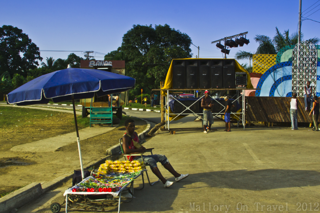 Stall close the the huge amplifiers at the Camaguey festival on Caribbean Cuba on Mallory on Travel adventure photography