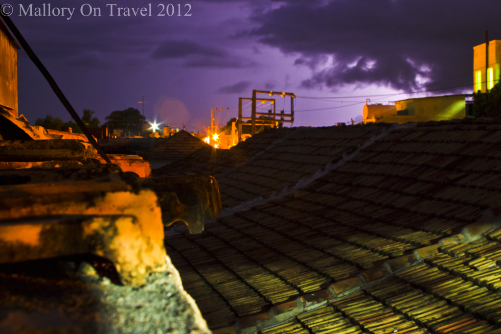 The town of Trinidad, Cuba during a nightime electrical thunderstorm on Mallory on Travel adventure photography