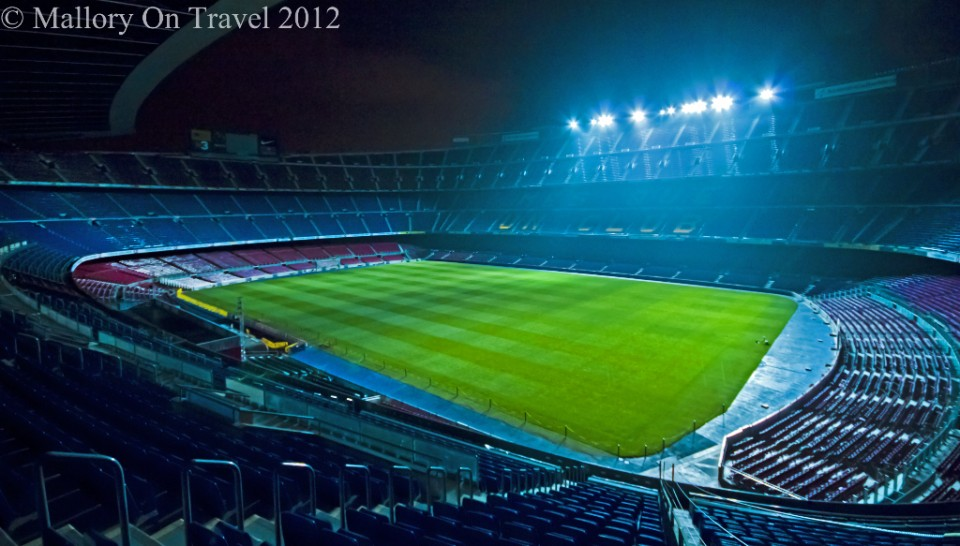 Floodlit home of FC Barcelona, the Nou Camp on Mallory on Travel adventure photography