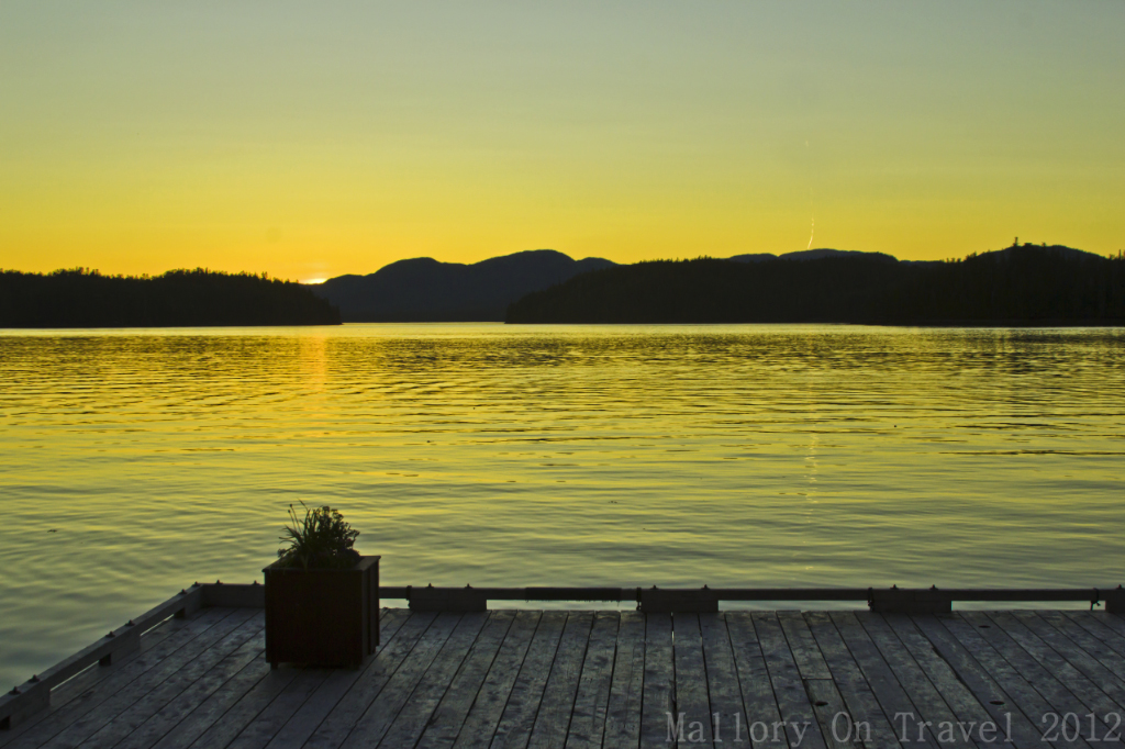 Sunset at the King Pacific Lodge in the Great Bear Rain Forest in British Columbia,Canada on Mallory on Travel adventure photography