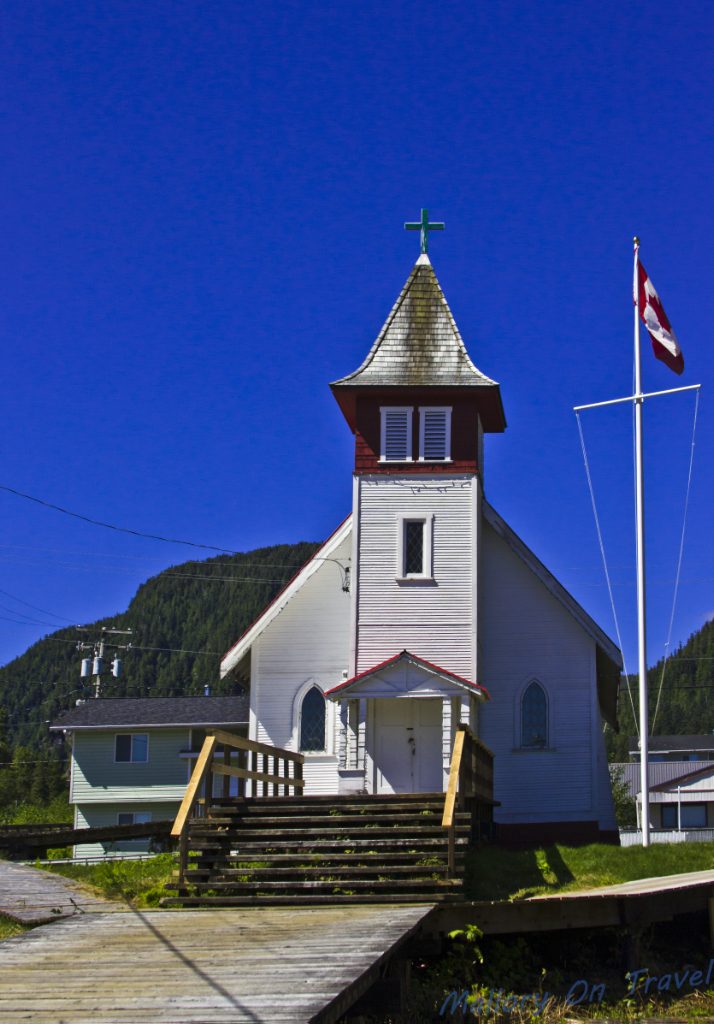 The community church in Hartley Bay home of the Gitga' at First Nation people in British Columbia, Canada on Mallory on Travel adventure photography