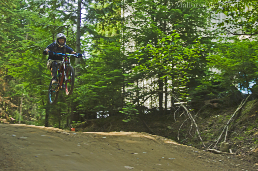 Mountain biker 'airtime' at Whistler Bike Park, British Columbia, Canada on Mallory on Travel adventure photography