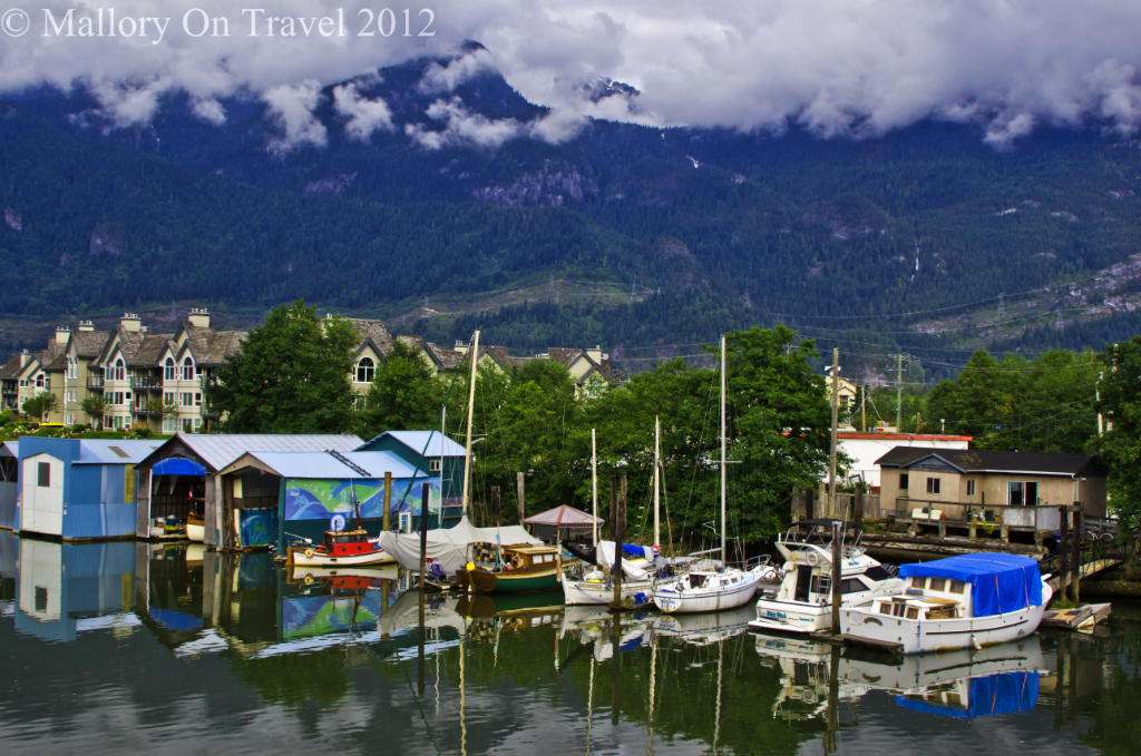 Coastal villages like Squamish on the Rocky Mountaineer from Vancouver to Whistler in British Columbia, Canada on Mallory on Travel adventure photography
