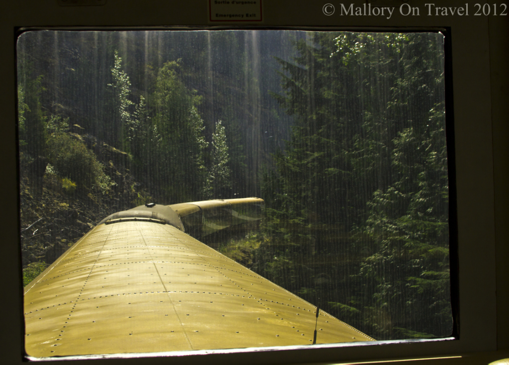 Rear view on the Rocky Mountaineer from Vancouver to Whistler in British Columbia, Canada on Mallory on Travel adventure photography