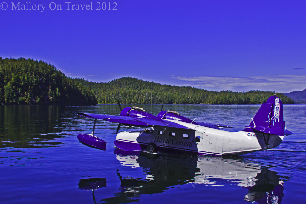 A float plane taxiing in the Great Bear Rainforest of British Columbia in Canada on Mallory on Travel adventure photography