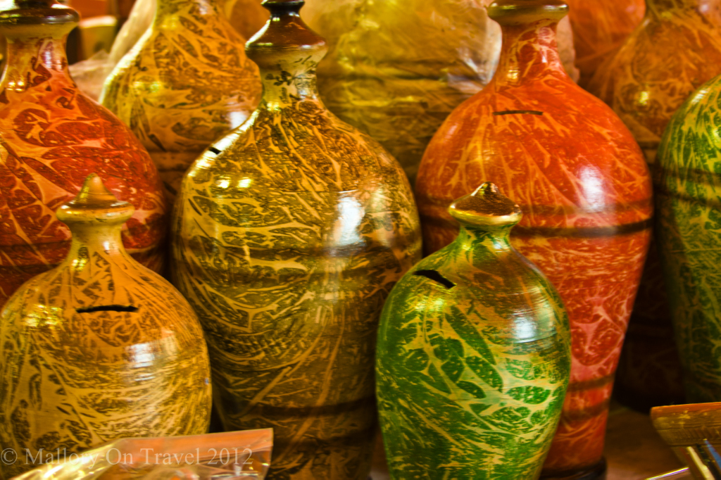 Colourful ceramic pottery on display at a stall in the desrt city of Nizwa, Oman on Mallory on Travel, adventure, adventure travel, photographyIain-Mallory-147.jpg -nizwa-oman