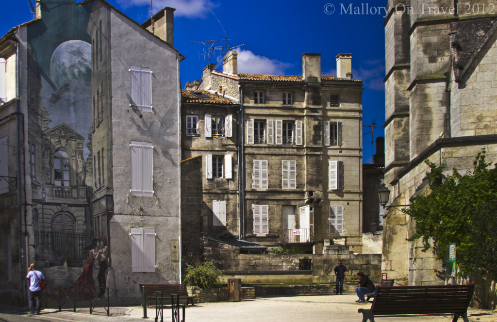 The Lovers' comic mural part of the Painted Walls project in comic city, Angoulême in the Poitou-Charentes region of France on Mallory on Travel adventure photography
