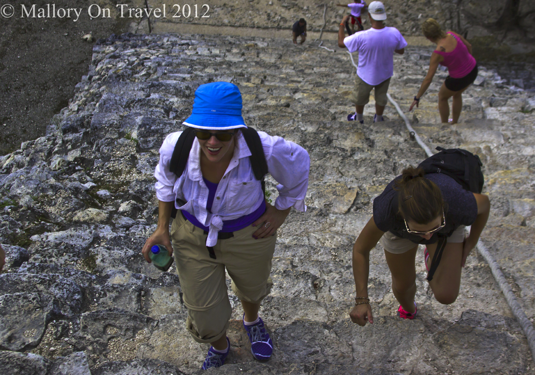 Climbing the Nohoch Mul pyramid at the archeological site of Cobá, near Riviera Maya, Mexico on Mallory on Travel adventure photography
