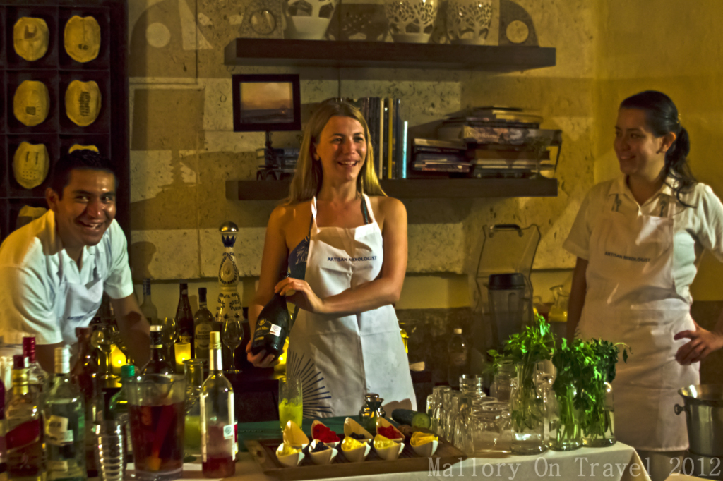 Mixing cocktails in a mixology session at the Riviera Maya on the Mexican coast of the Caribbean on Mallory on Travel adventure photography