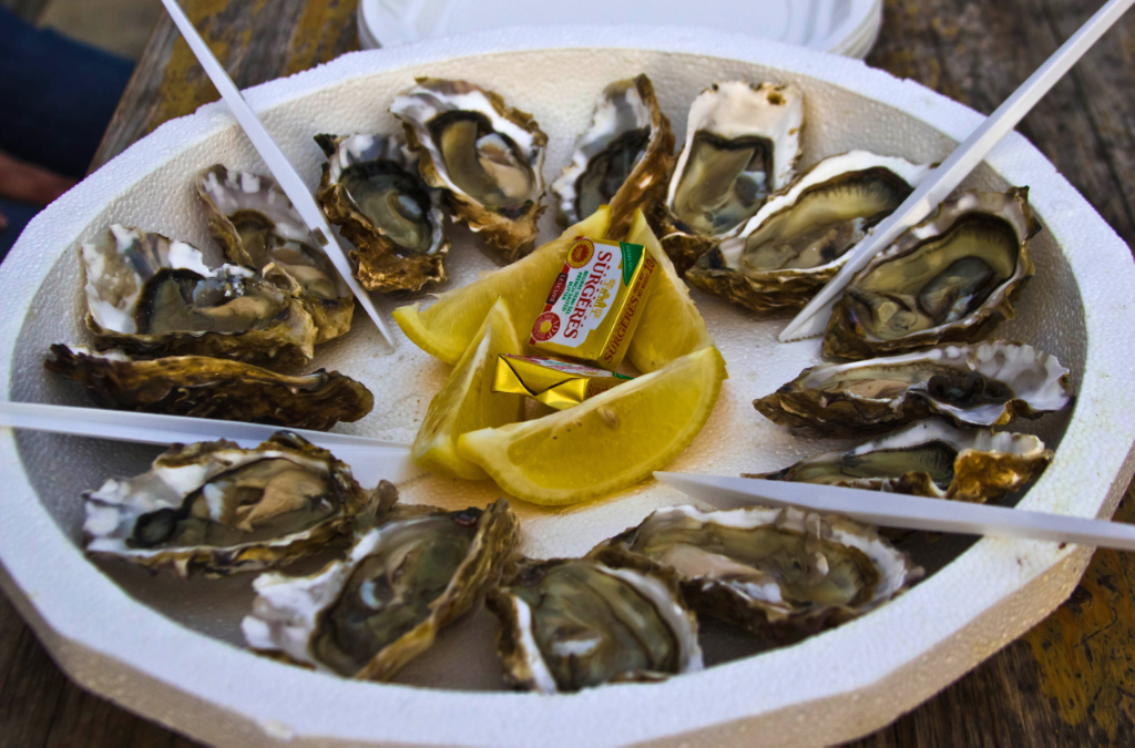 Fresh oysters on Île-d'Aix in the Poitou-Charentes maritime region of France on Mallory on Travel adventure photography