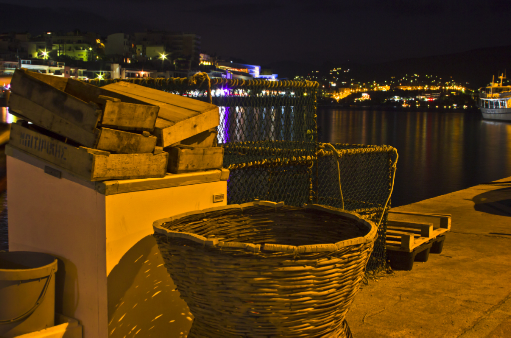 Fishing equipment at nightime on the quay at Agios Nikolaos on the Greek island of Crete on Mallory on Travel adventure photography